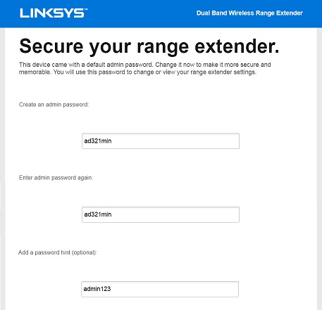 linksys re7000 default admin and password