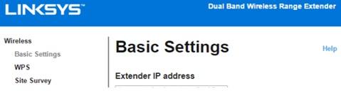 linksys re7000 extender ip address